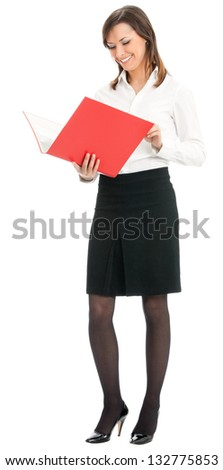 Full body portrait of happy smiling business woman with red folder, isolated on white background - stock photo