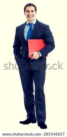 Full body portrait of happy smiling businessman with red folder - stock photo