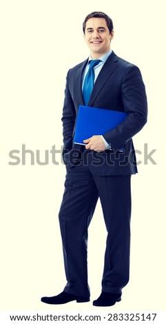 Full body portrait of happy smiling senior businessman with blue folder - stock photo