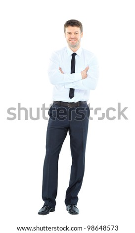 Full body portrait of happy smiling young business man, isolated on white background - stock photo