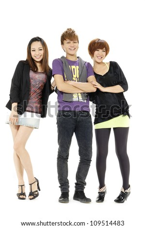 Full body portrait of three young people - stock photo