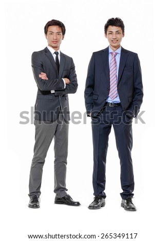 Full body portrait of two businessmen - stock photo