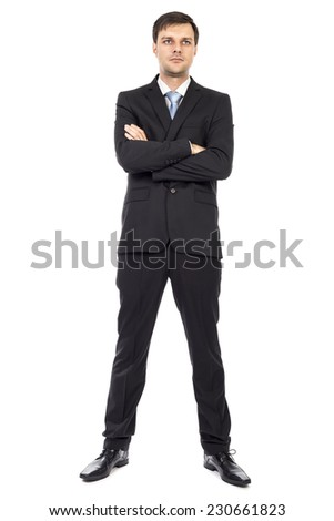 Full body portrait of  young business man with arms folded isolated over white background - stock photo