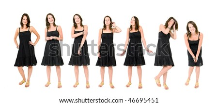 Full body portraits of a young brunette woman in a black summer dress, in various natural poses. - stock photo