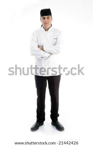 full body pose of handsome chef against white background - stock photo