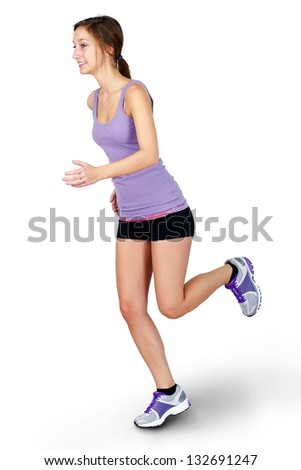 Full body shot of a young woman jogging on white background. - stock photo