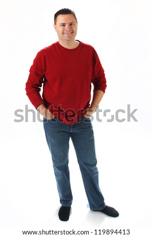Full body shot of man standing on white background with red shirt - stock photo
