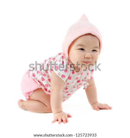 Full body Six months old East Asian baby girl crawling on white background - stock photo