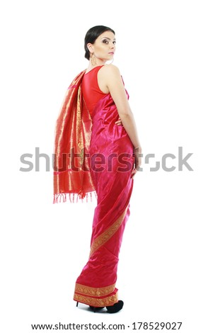 Full body traditional Indian beautiful fashion model girl in sari costume - stock photo