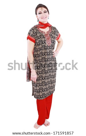 Full body traditional Indian woman in costume standing isolated on white background - stock photo