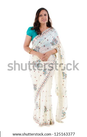 Full body traditional Indian woman in sari costume standing isolated on white background - stock photo