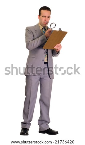 Full body view of a man inspecting a checklist with a magnifying glass, isolated against a white background - stock photo