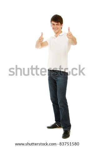 Full body view of a man looking excited and giving  thumbs up - isolated on white background - stock photo