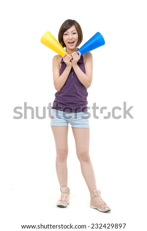 Full body young asian school girl yelling on white background - stock photo