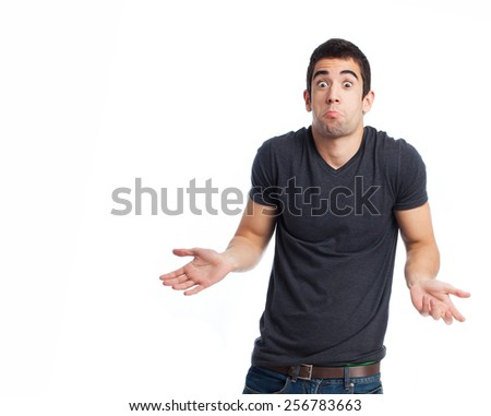 full body young man doing a doubt gesture - stock photo