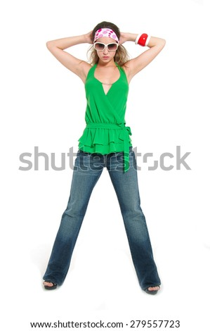full body young woman in sunglasses standing on white background - stock photo