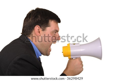 full businessman shouts in  megaphone isolated on  white background - stock photo