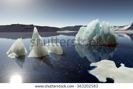 Full calm and reflection of icebergs in deep clear water. Snow and ices islands. - stock photo