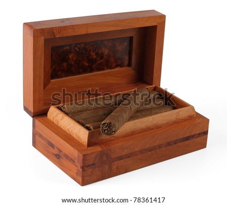 Full cigar box from wood isolated over white - stock photo