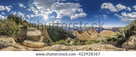 full 360 degree panorama of Grand Canyon South Rim, Grandview Point, Arizona, USA - stock photo