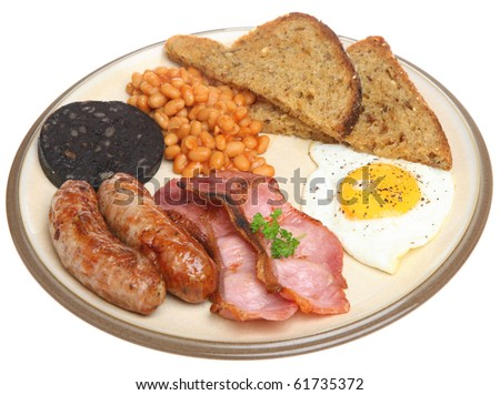 Full English fried breakfast - stock photo
