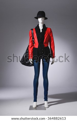 Full female clothing in jeans with hat on mannequin  - stock photo