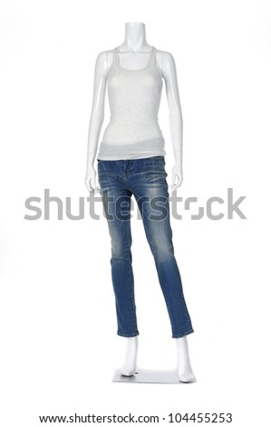 Full female mannequin shirt dressed in jeans isolated - stock photo