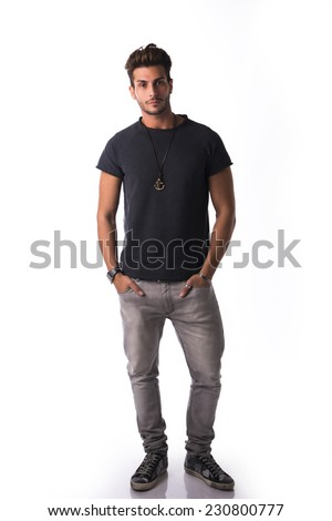 Full figure of handsome young man standing confident in casual clothes, looking at camera isolated on white - stock photo