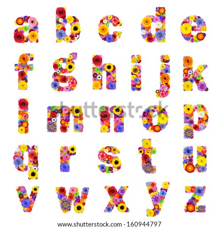 Full Floral lowercase Alphabet Isolated on White Background.  Letters A to Z made of many colorful and original flowers - stock photo
