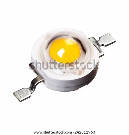 Full focus of one LED light isolated on white - stock photo