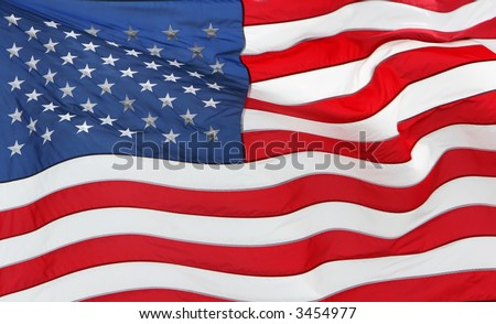 full frame of the US flag flying - stock photo