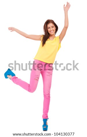 Full-frame sexy woman throwing arms up in the air on white background - stock photo