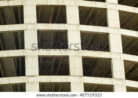 Full frame take of an unfinished concrete structure - stock photo