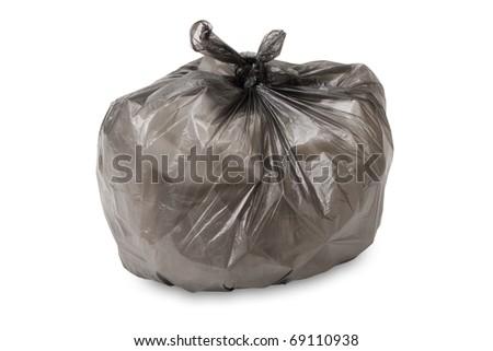 full garbage bag isolated on white background - stock photo