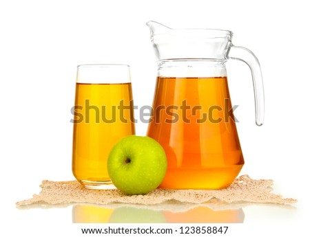 Full glass and jug of apple juice and apple isolted on white - stock photo