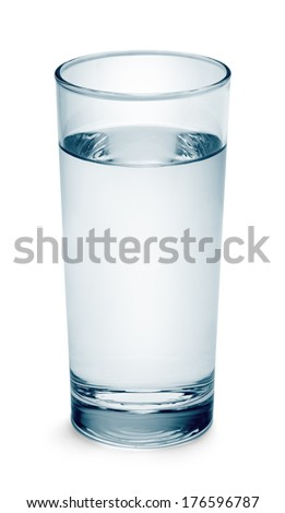 Full Glass of Blue Water Isolated on White Background. - stock photo