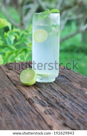 Full glass of fresh cool tonic with lime fruits on wood table - stock photo