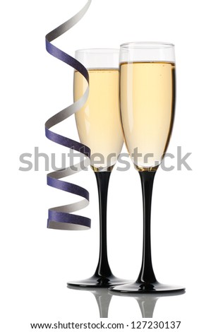 Full glasses of champagne isolated on white - stock photo