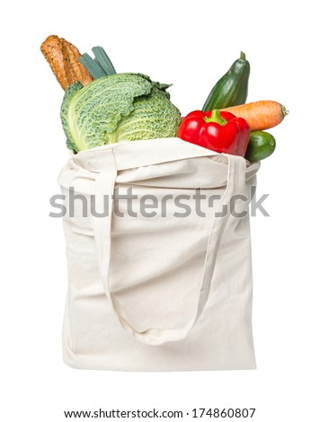Full grocery bag with food - stock photo