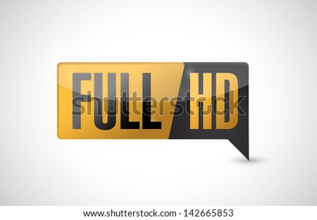 Full HD. High definition button. illustration design - stock photo