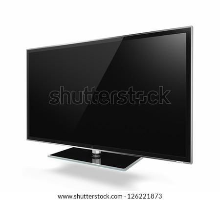 Full HD Led Television on white background - stock photo