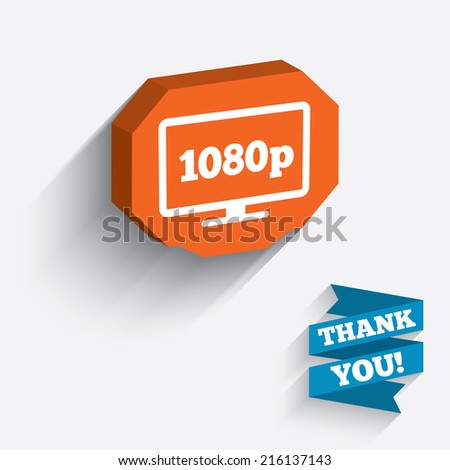 Full hd widescreen tv sign icon. 1080p symbol. White icon on orange 3D piece of wall. Carved in stone with long flat shadow. - stock photo