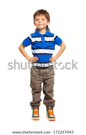 Full height portrait of 3 years old boy standing isolated on white  - stock photo