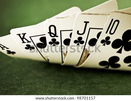 full house in poker - stock photo