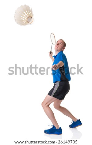 Full isolated picture of a caucasian man playing badminton - stock photo