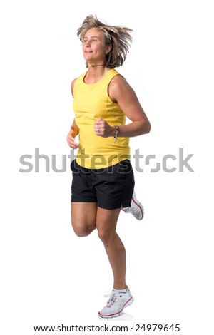 Full isolated picture of a  caucasian running woman - stock photo