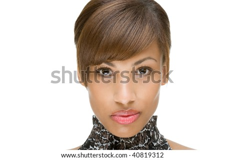 Full isolated portrait of a beautiful brunette woman - stock photo