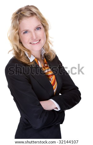 Full isolated portrait of a beautiful caucasian businesswoman - stock photo