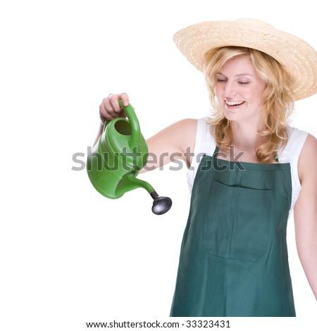 Full isolated portrait of a beautiful caucasian gardener - stock photo