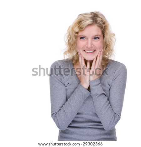Full isolated portrait of a beautiful caucasian woman - stock photo